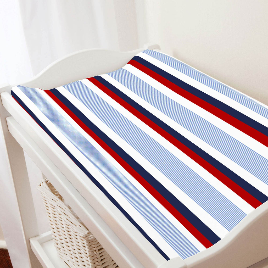 Product image for Red and Blue Stripe Changing Pad Cover
