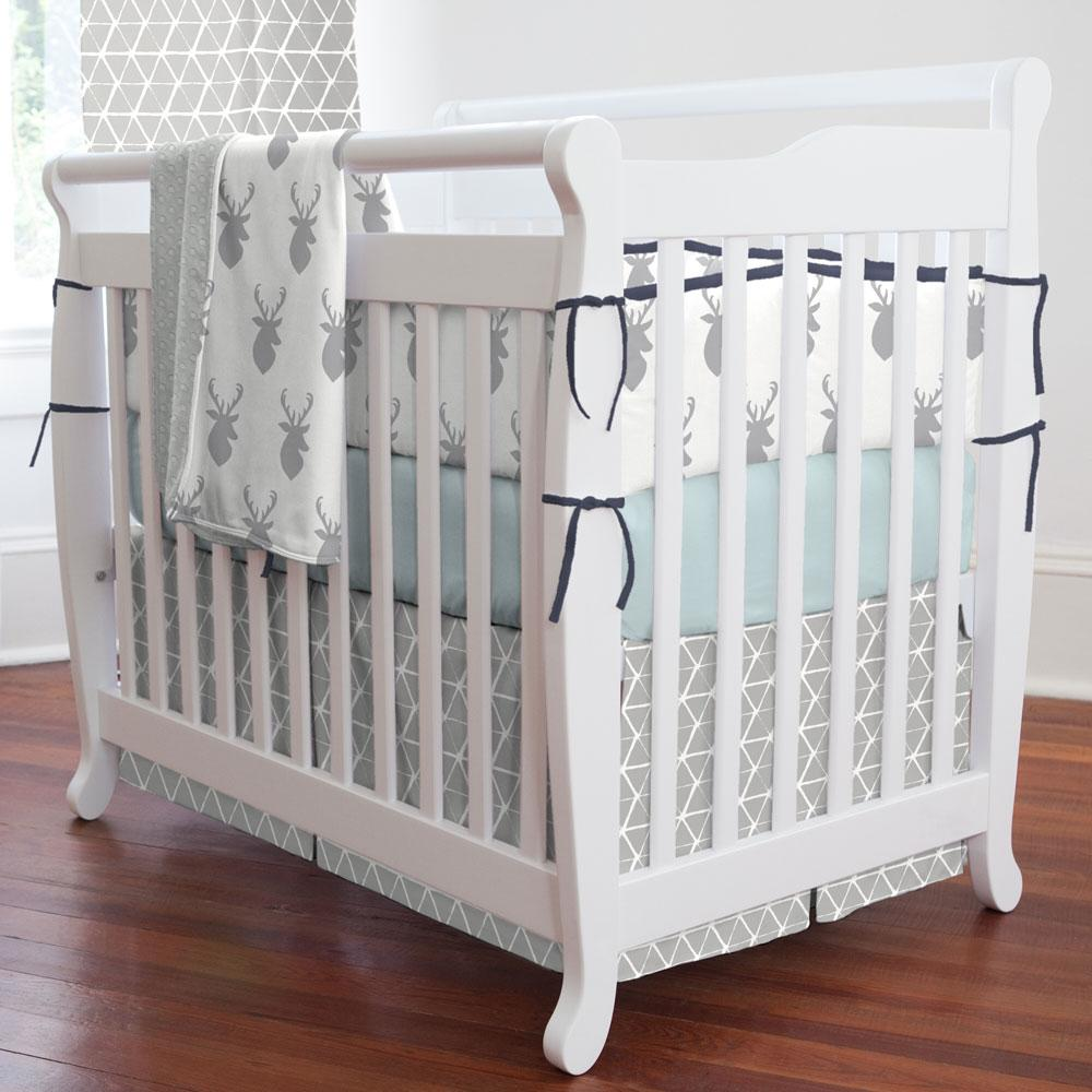 Product image for Gray Aztec Triangles Mini Crib Skirt