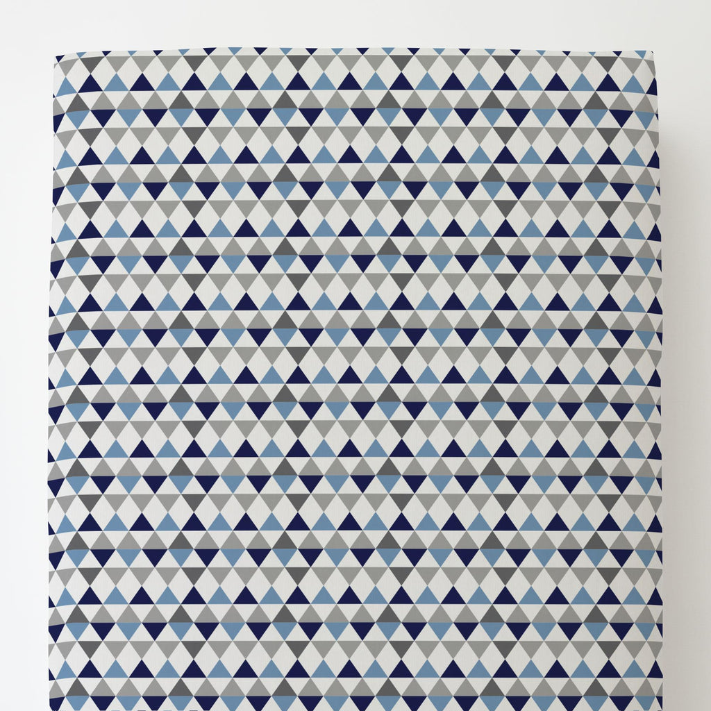 Product image for Gray and Blue Triangles Toddler Sheet Bottom Fitted