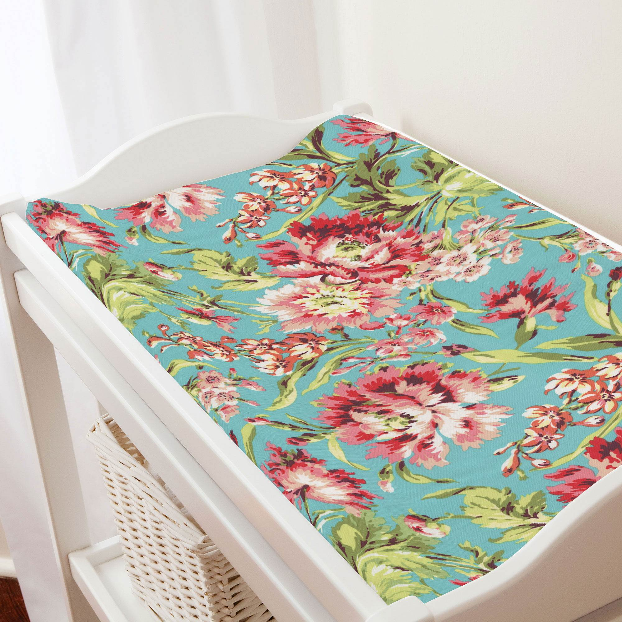 Bella Butterfly Coral and Green Designer Baby Contour Changing Pad  Mat Cover with Coral Minky Insert