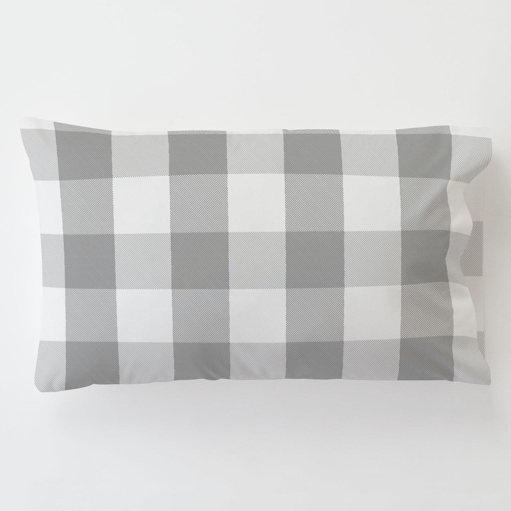 Product image for Gray Buffalo Check Toddler Pillow Case with Pillow Insert