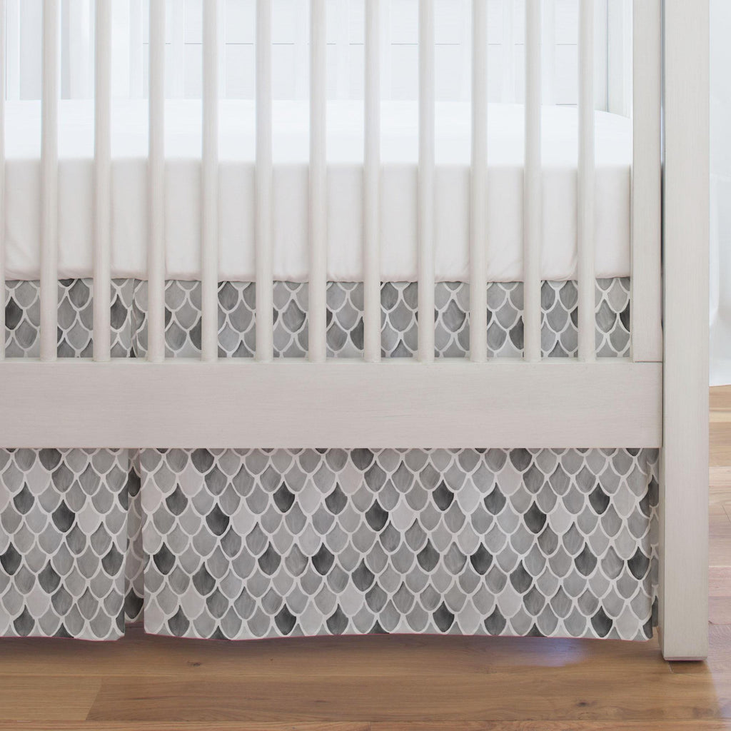 Product image for Gray Watercolor Scales Crib Skirt Single-Pleat