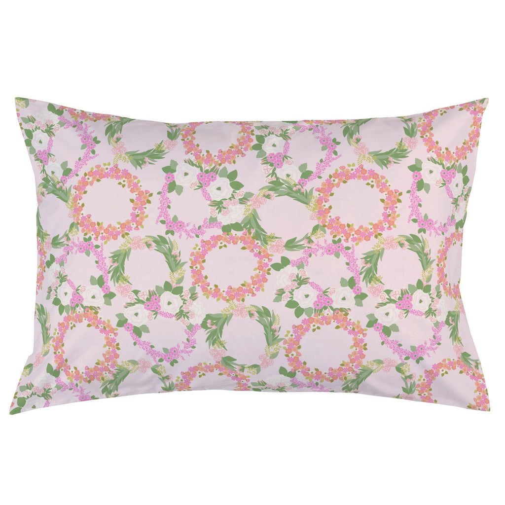 Product image for Pink and Coral Floral Wreath Pillow Case