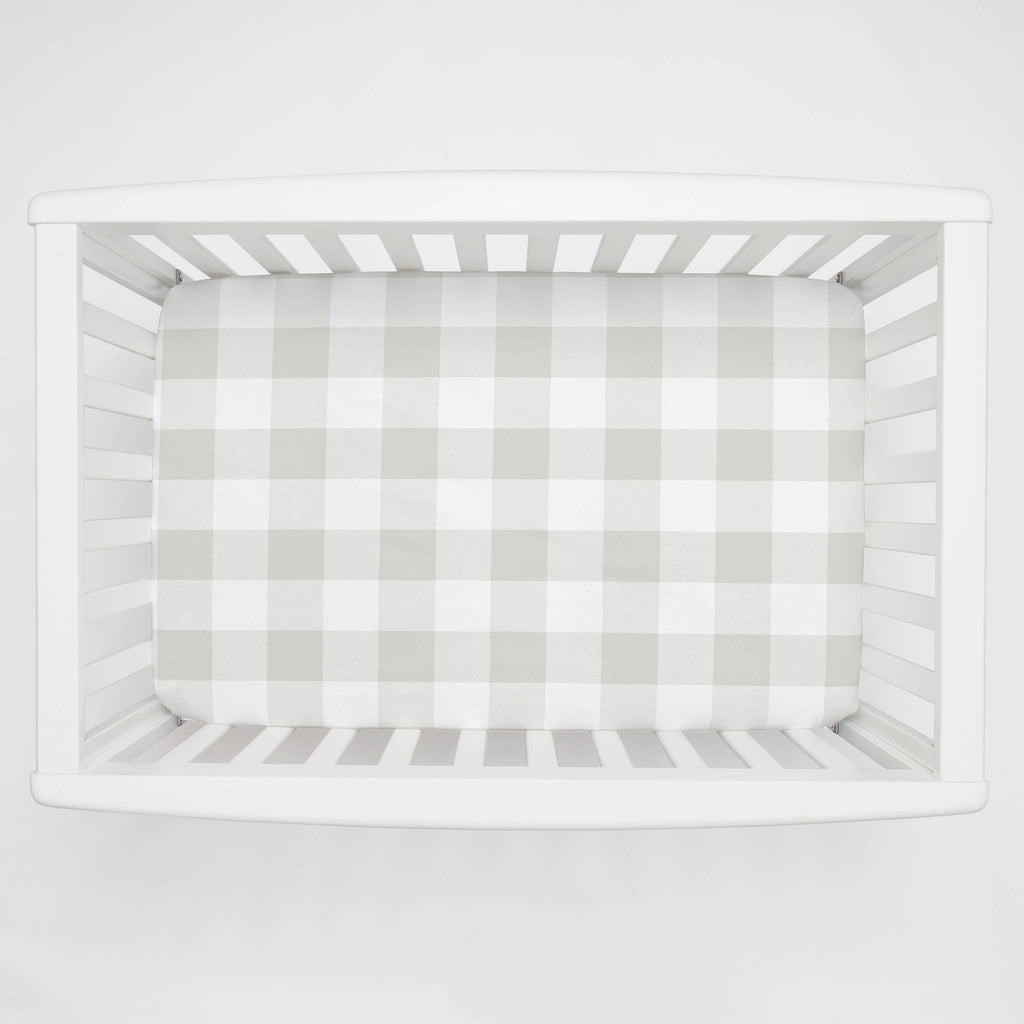 Product image for French Gray and White Buffalo Check Mini Crib Sheet
