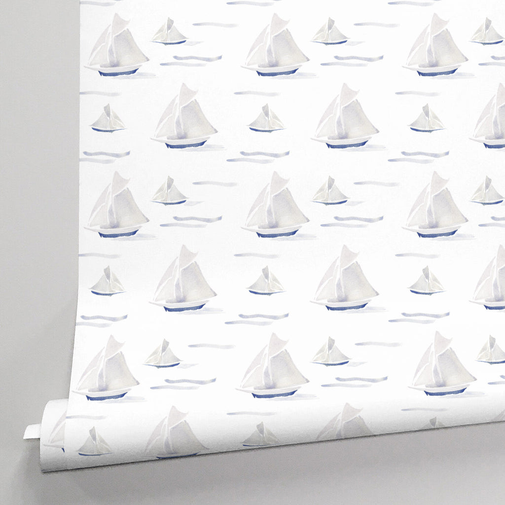 Product image for Watercolor Sailboats Wallpaper Panel