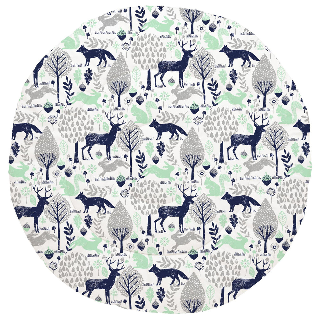 Product image for Navy and Mint Woodland Animals Baby Play Mat