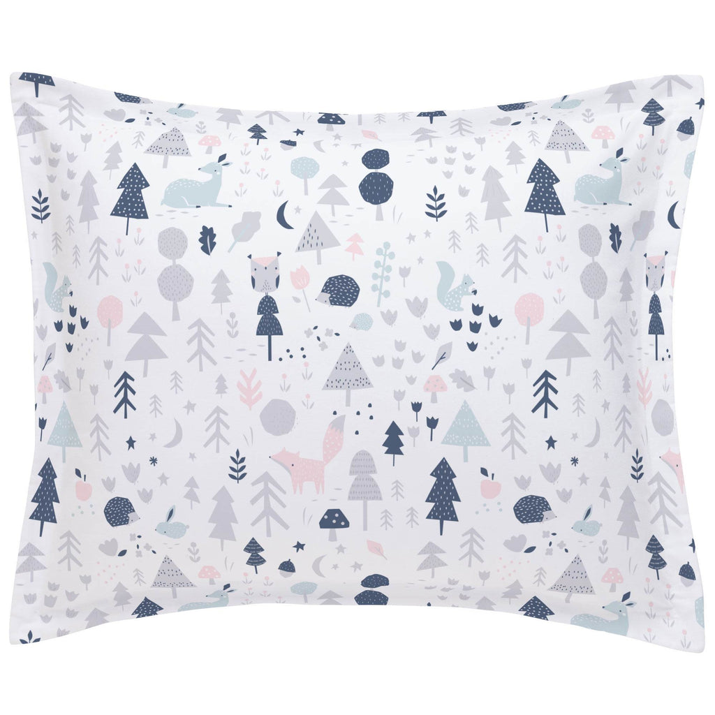 Product image for Gray and Pink Baby Woodland Pillow Sham