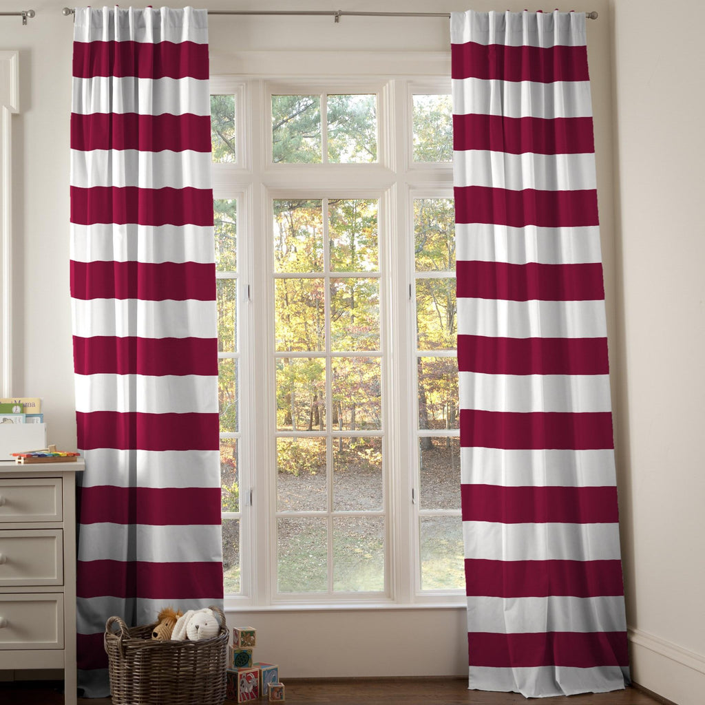 Product image for Maroon Horizontal Stripe Drape Panel