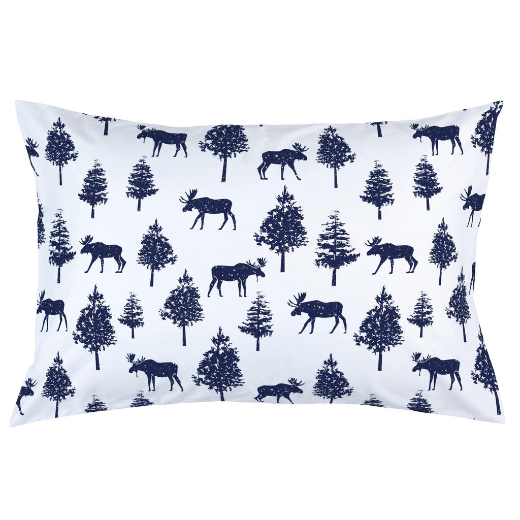 Product image for Navy Moose Pillow Case