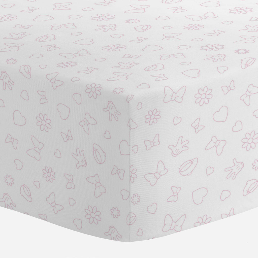 Product image for Disney© Bubblegum Minnie Icons Crib Sheet
