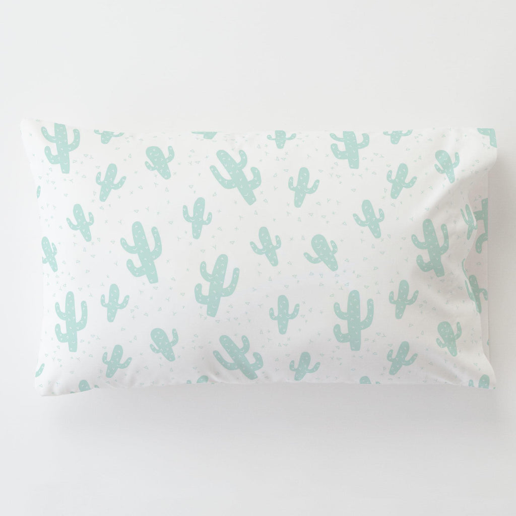 Product image for Icy Mint Cactus Toddler Pillow Case with Pillow Insert