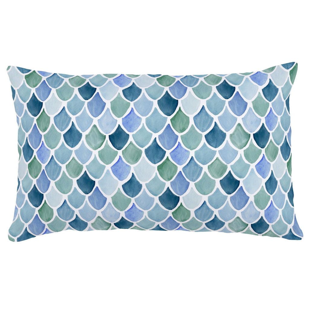 Product image for Blue Watercolor Scales Lumbar Pillow