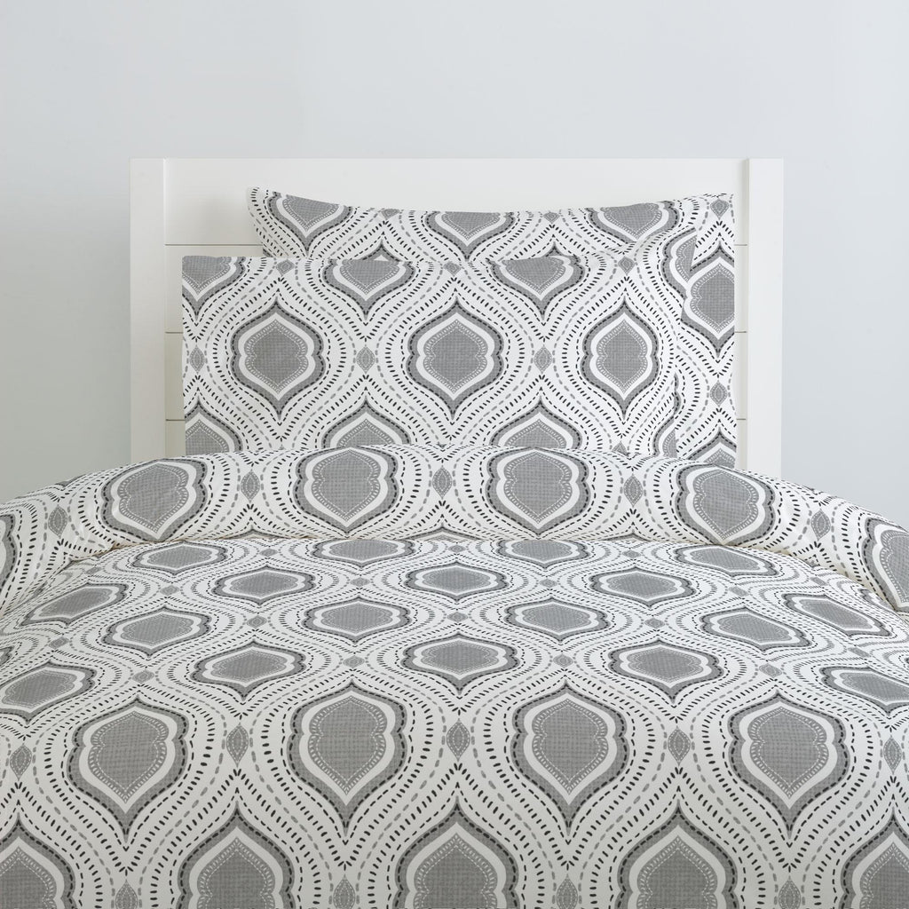 Product image for Gray Moroccan Damask Duvet Cover