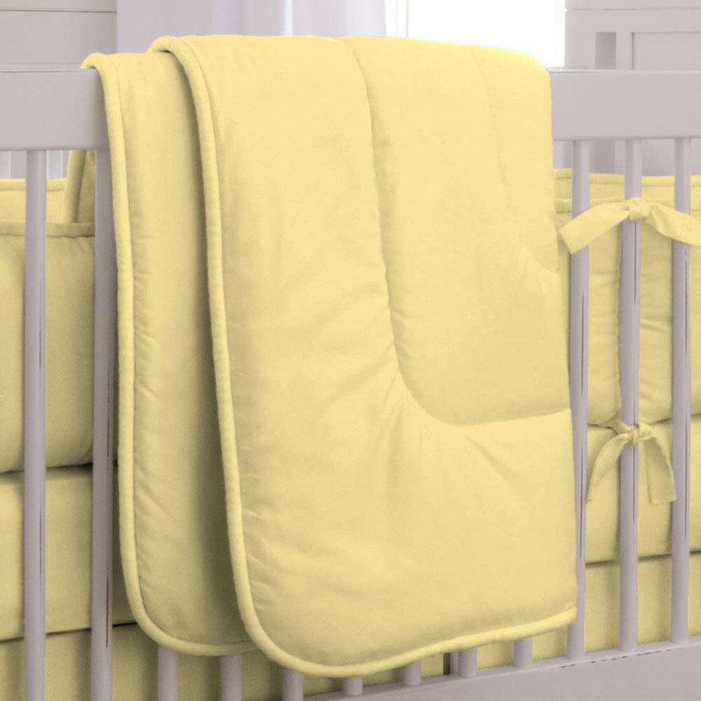 Product image for Solid Banana Crib Comforter with Piping