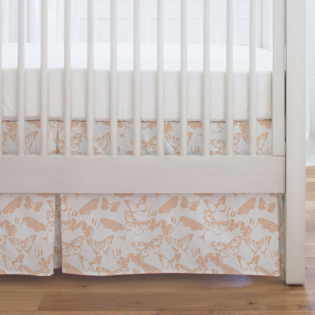 Product image for Peach Modern Butterflies Crib Skirt Single-Pleat