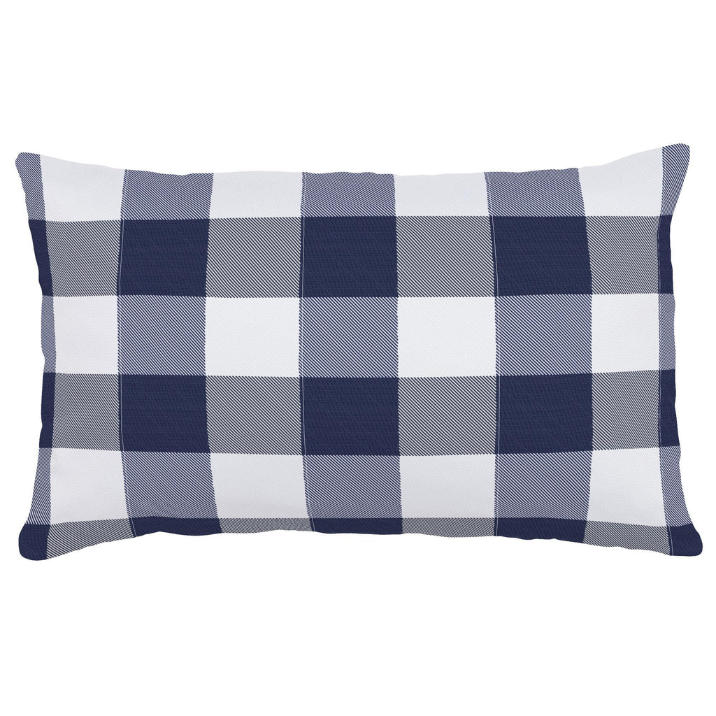 Product image for Navy and White Buffalo Check Lumbar Pillow