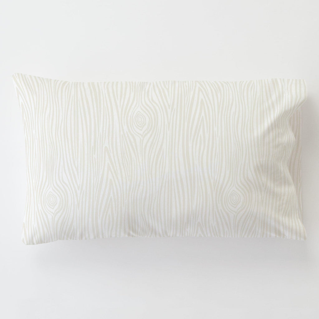 Product image for Ivory Woodgrain Toddler Pillow Case with Pillow Insert