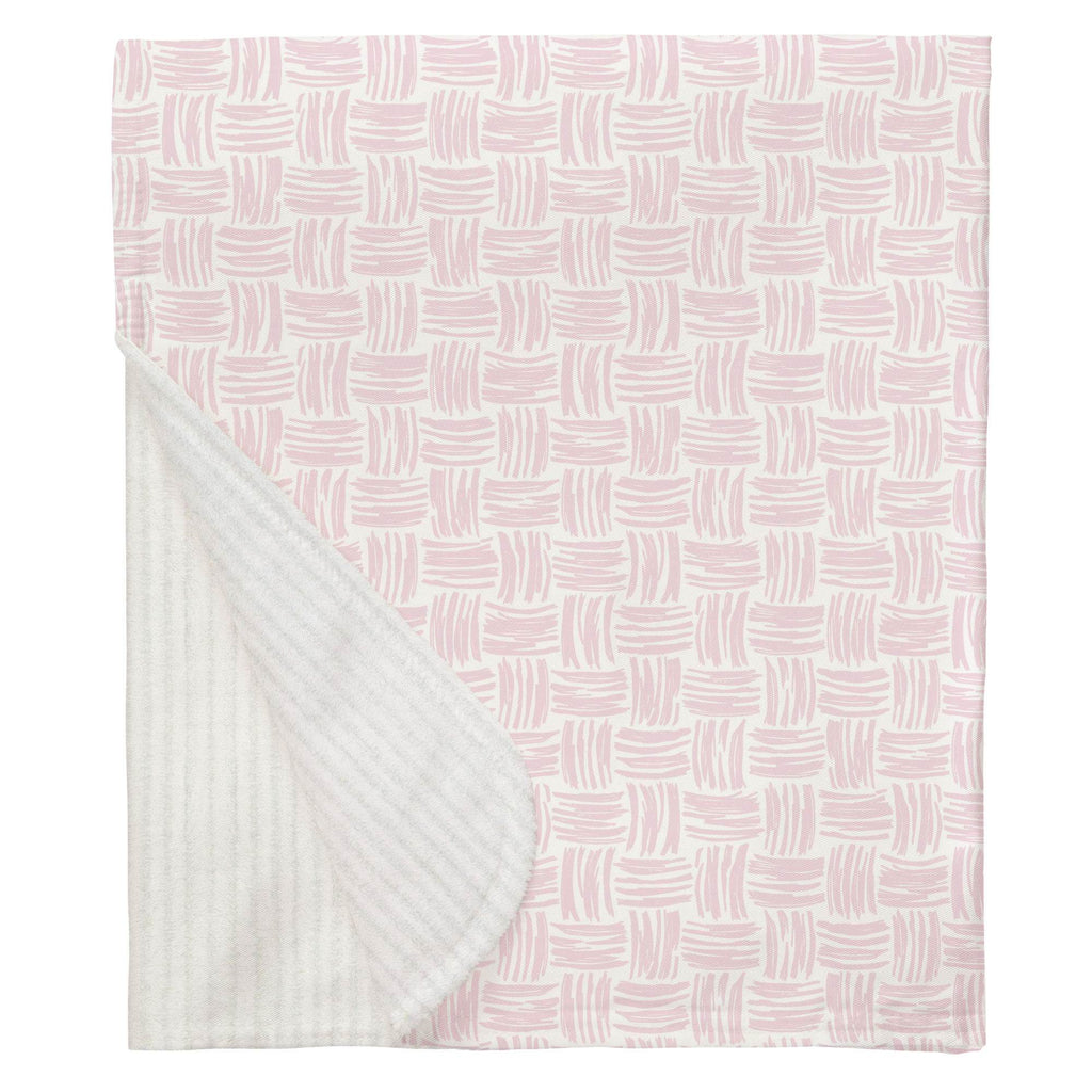 Product image for Pink Basket Weave Baby Blanket
