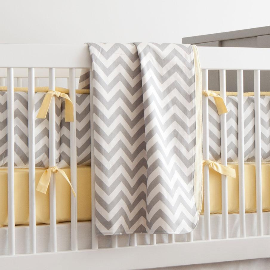 Product image for White and Gray Zig Zag Baby Blanket