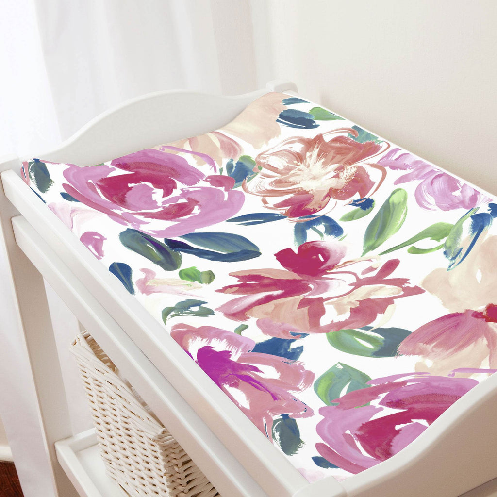 Product image for Pink Brushstroke Floral Changing Pad Cover