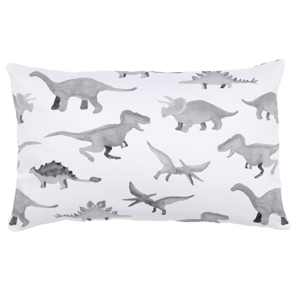 Product image for Gray Watercolor Dinosaurs Lumbar Pillow