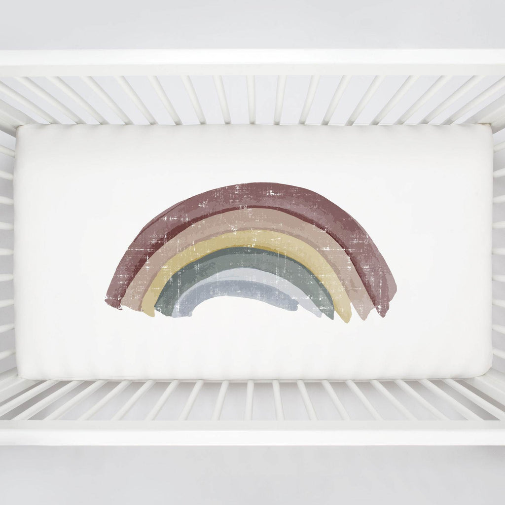 Product image for Soft Rainbow Centerpiece Crib Sheet