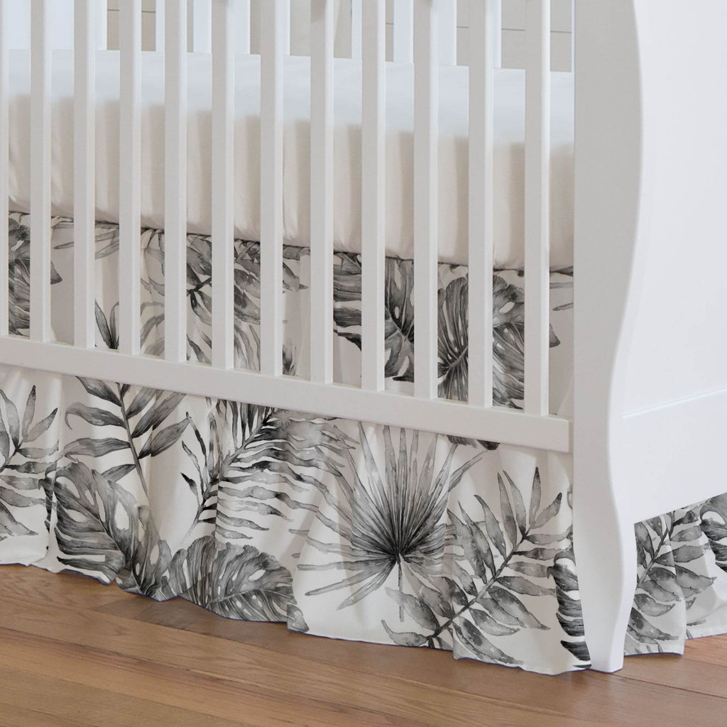 Product image for Gray Painted Tropical Crib Skirt Gathered
