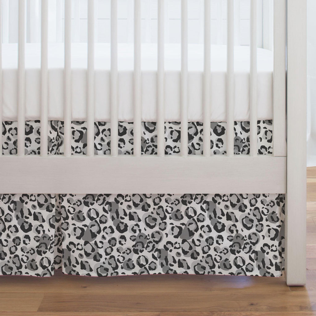 Product image for Gray Leopard Crib Skirt Single-Pleat