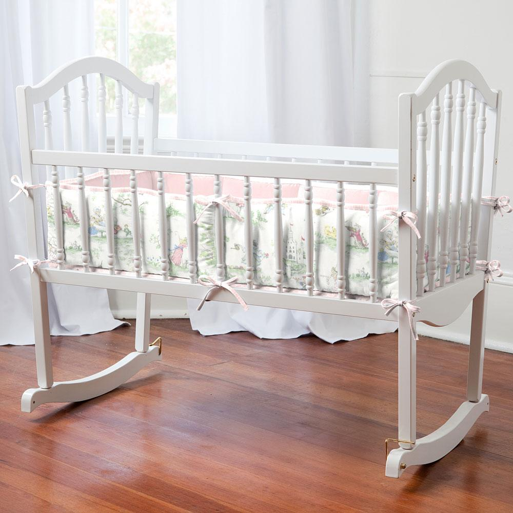 Product image for Pink and Nursery Rhyme Toile Cradle Bumper
