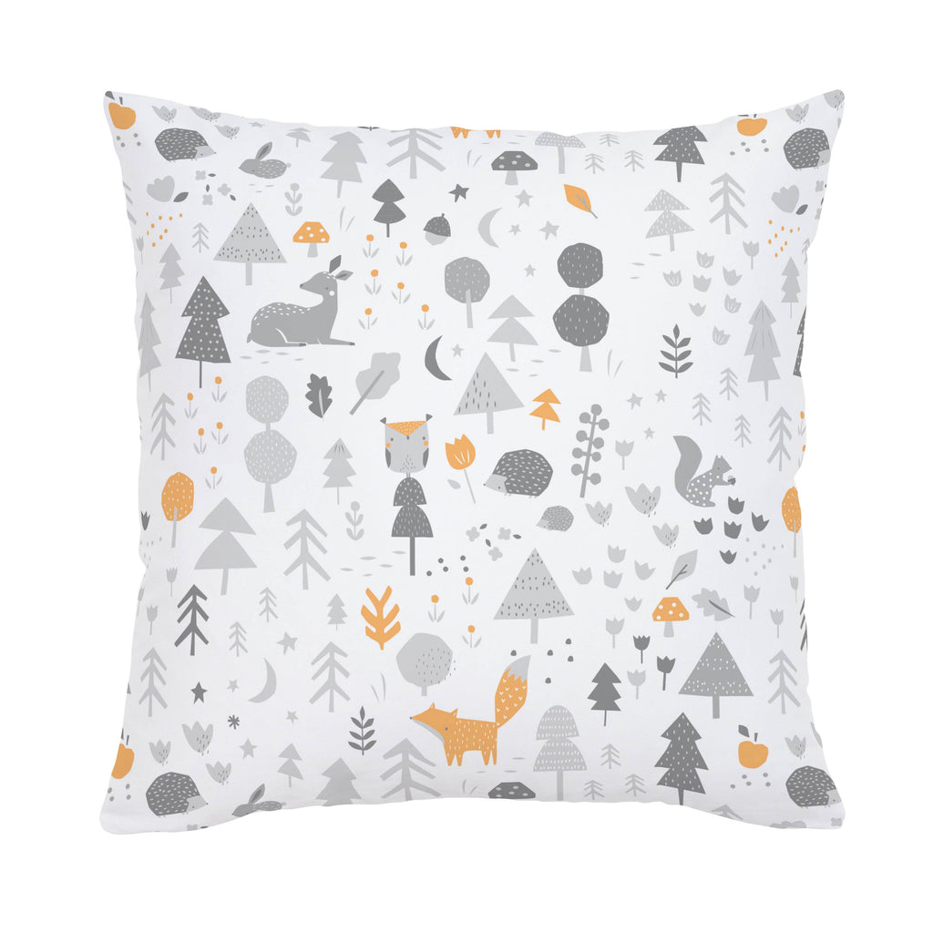 Product image for Light Orange and Silver Gray Baby Woodland Throw Pillow