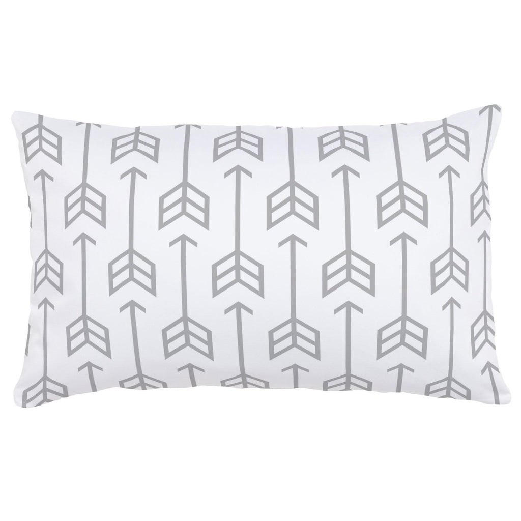 Product image for Silver Gray Arrow Lumbar Pillow