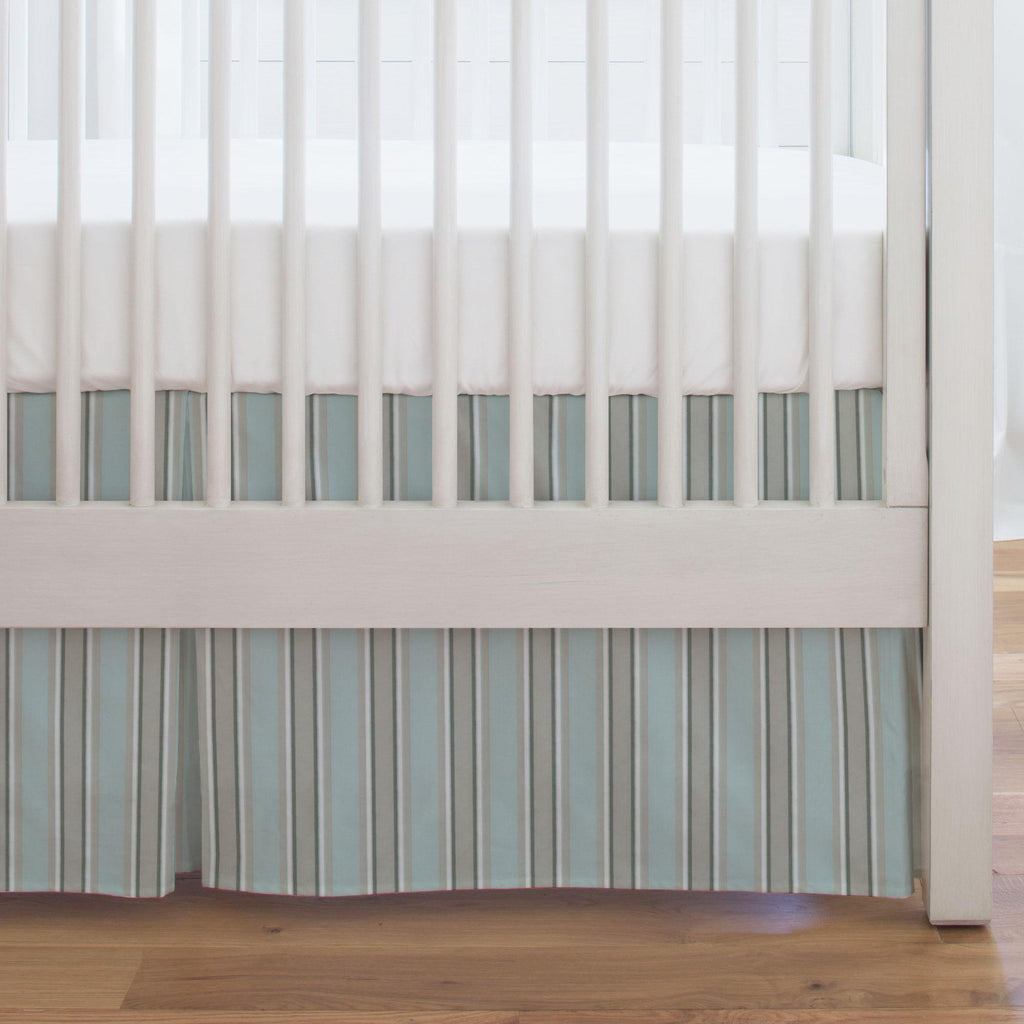 Product image for Mist and Gray Stripe Crib Skirt Single-Pleat