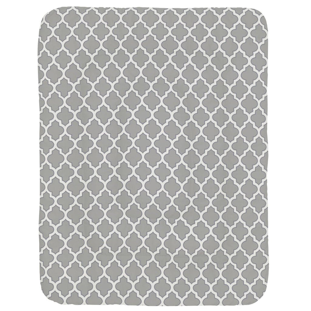 Product image for Silver Gray and Navy Hand Drawn Quatrefoil Crib Comforter