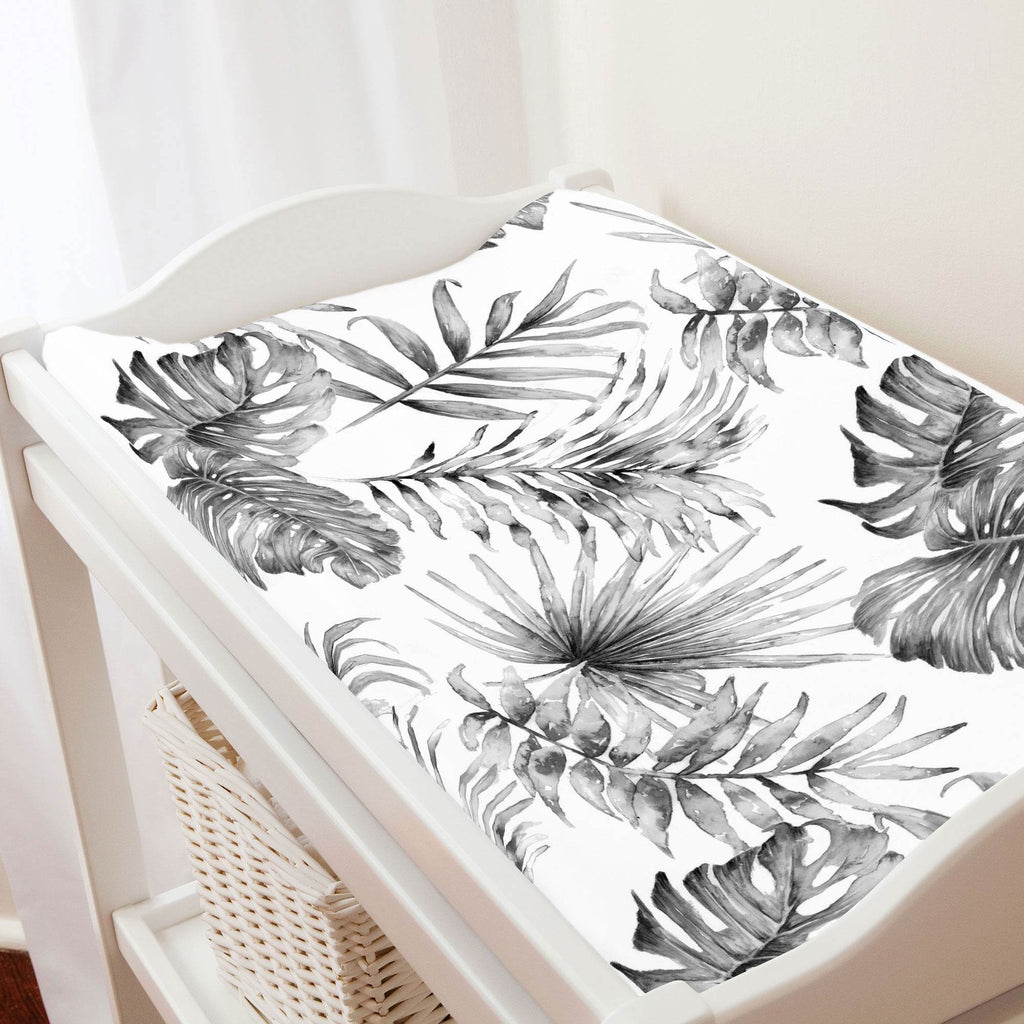 Product image for Gray Painted Tropical Changing Pad Cover