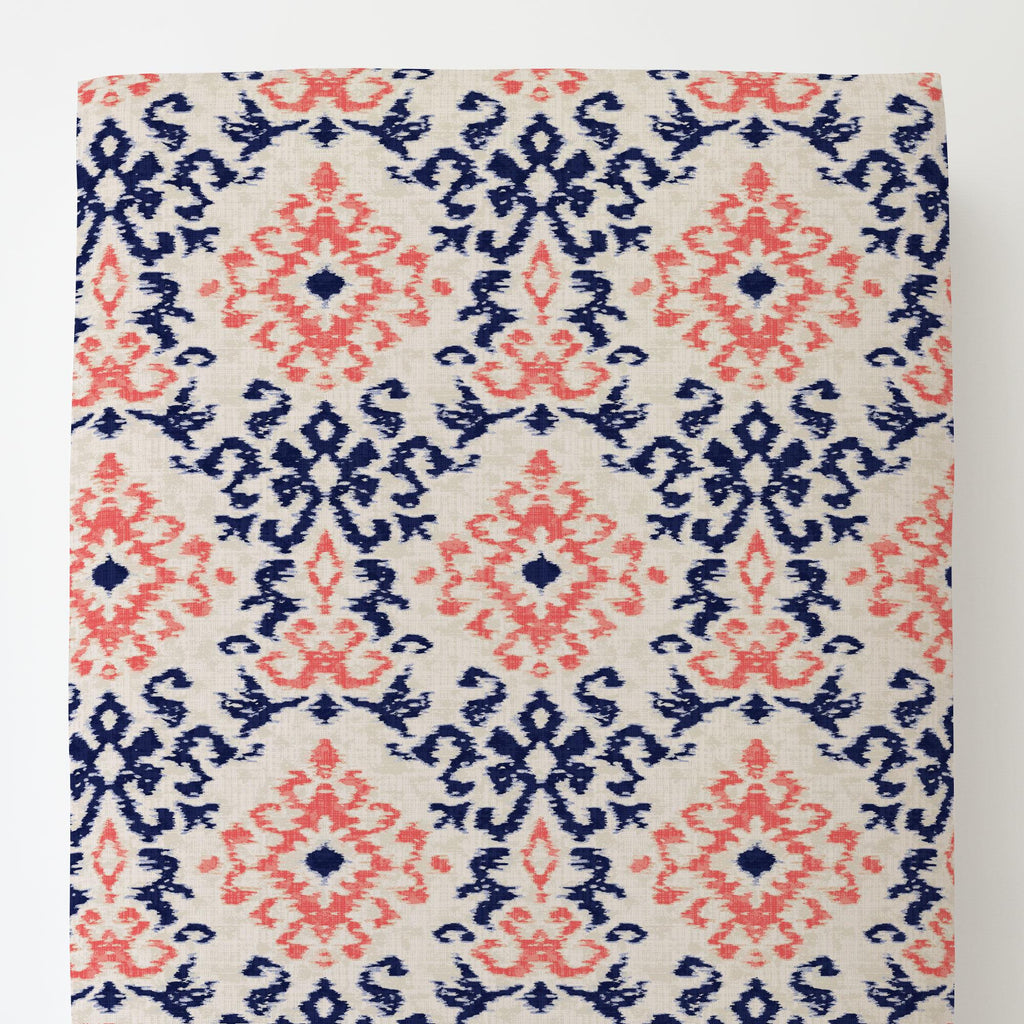 Product image for Navy and Coral Ikat Damask Toddler Sheet Bottom Fitted