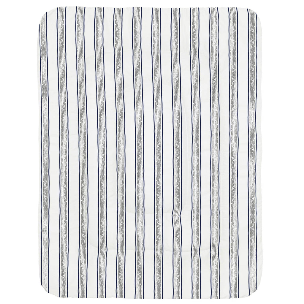 Product image for Navy and Gray Beach Stripe Crib Comforter