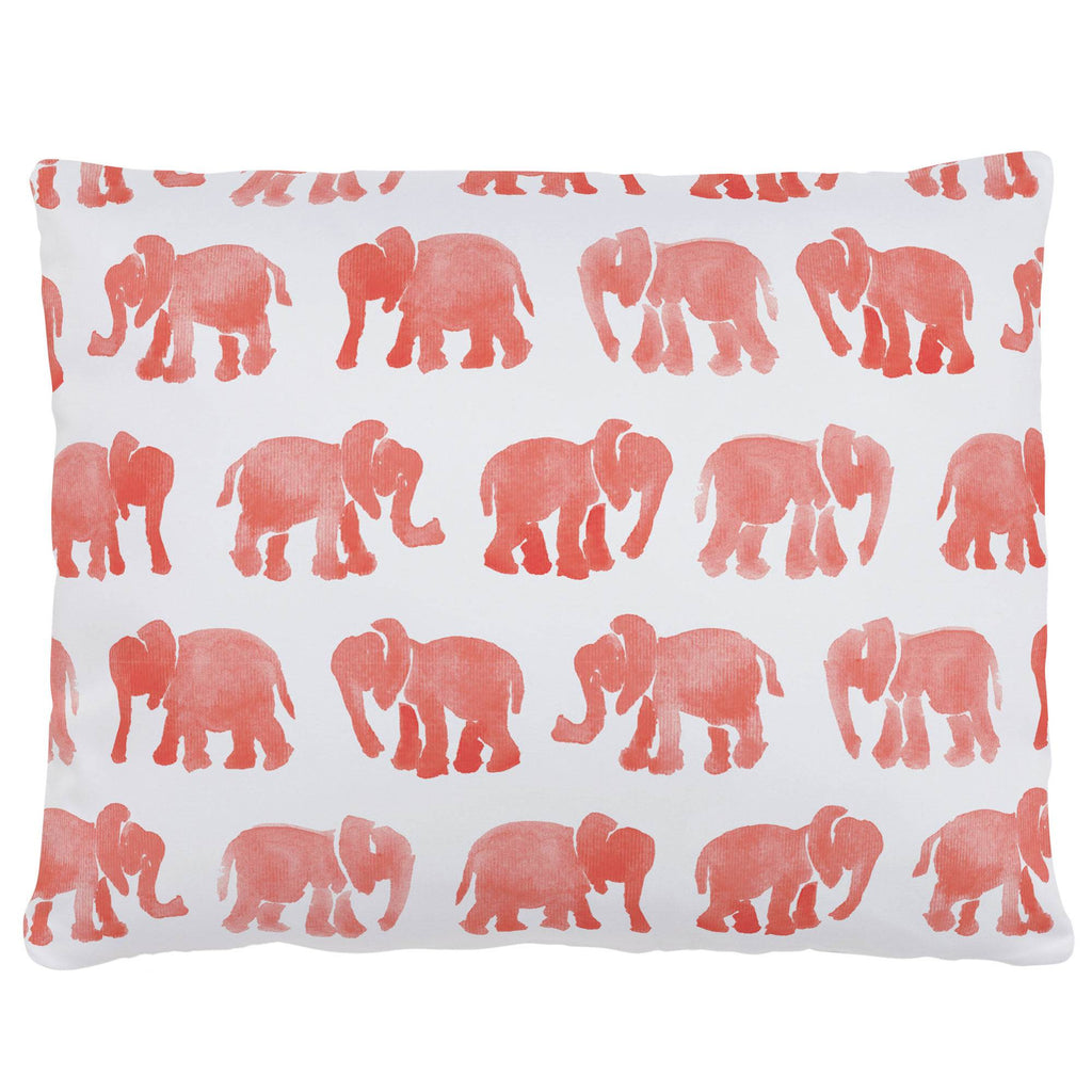 Product image for Coral Watercolor Elephants Accent Pillow