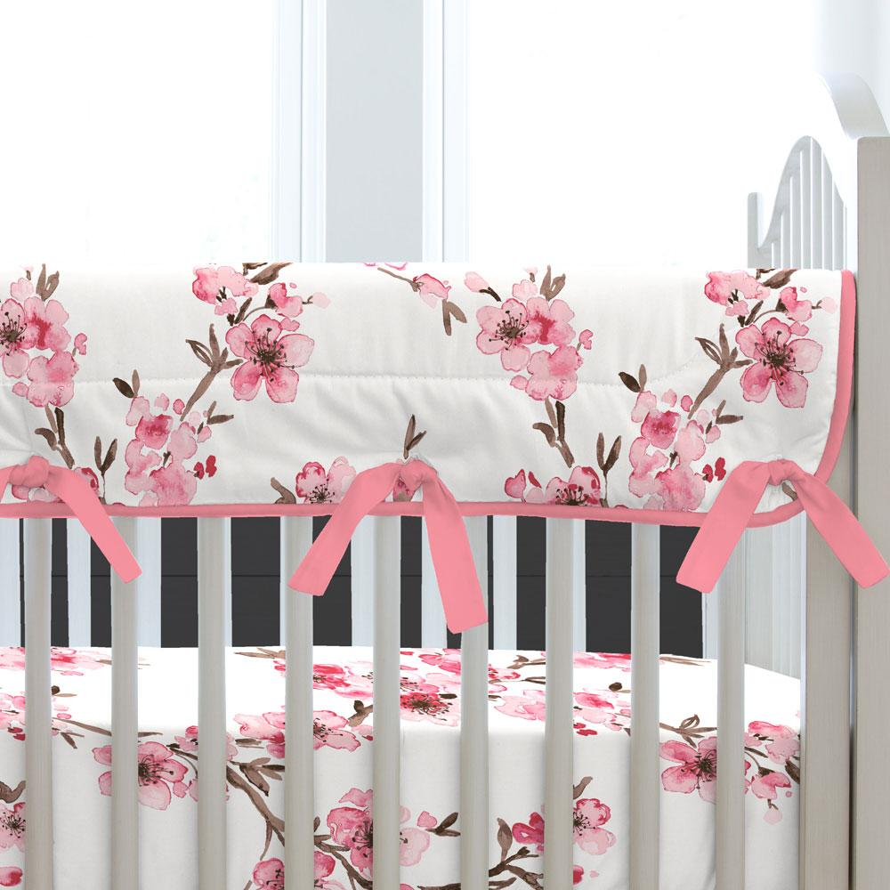 Product image for Pink Cherry Blossom Crib Rail Cover