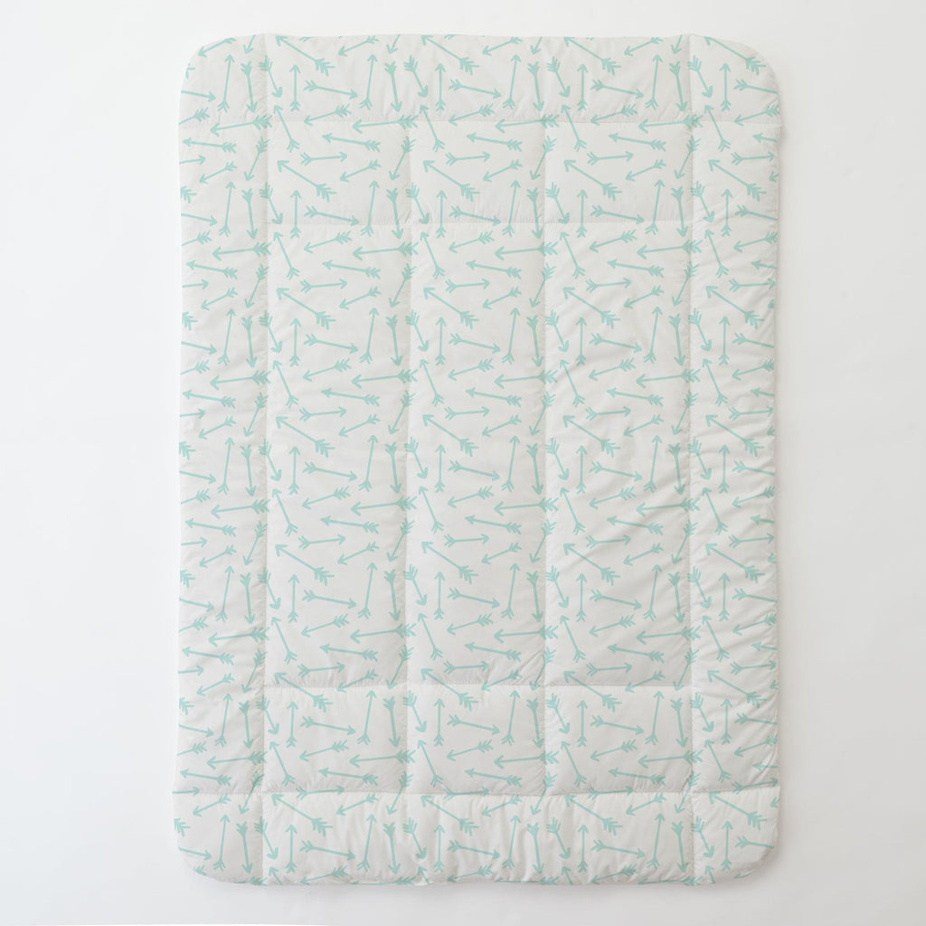 Product image for Icy Mint Whimsical Arrows Toddler Comforter