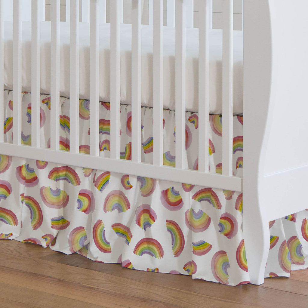 Product image for Watercolor Rainbows Crib Skirt Gathered