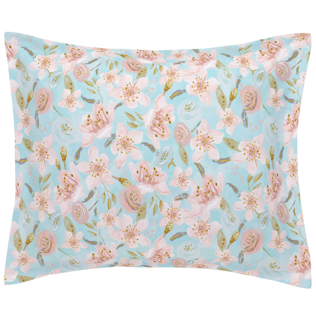 Product image for Aqua and Pink Hawaiian Floral Pillow Sham