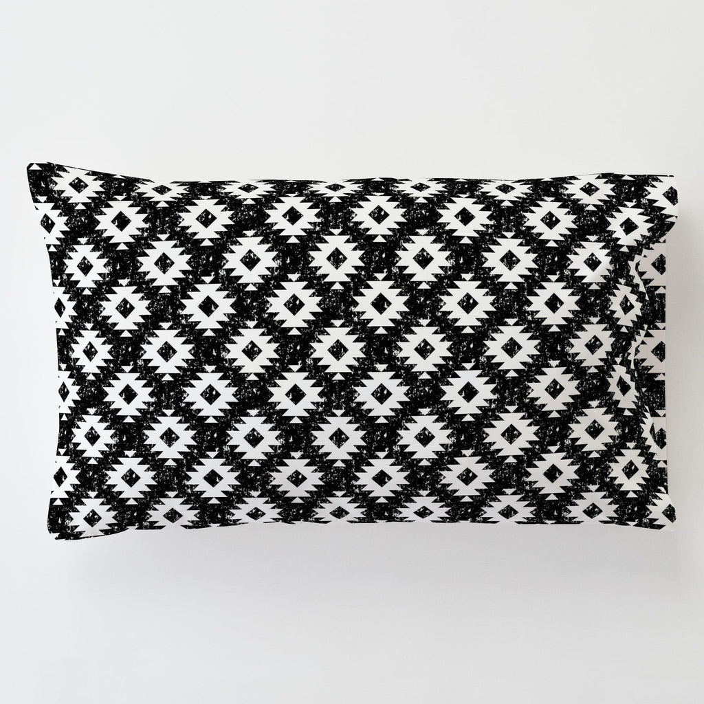 Product image for Onyx and White Aztec Toddler Pillow Case with Pillow Insert