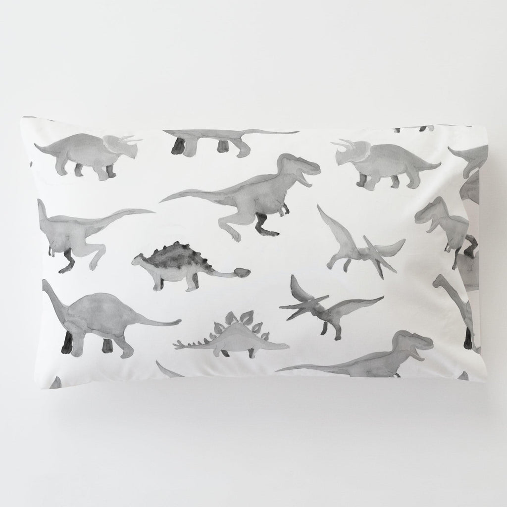 Product image for Gray Watercolor Dinosaurs Toddler Pillow Case with Pillow Insert