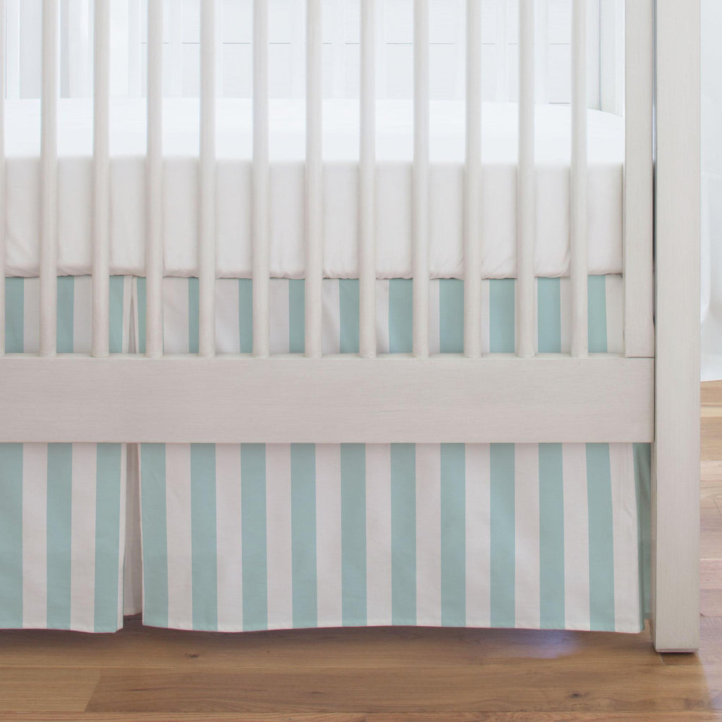 Product image for Mist Canopy Stripe Crib Skirt Single-Pleat