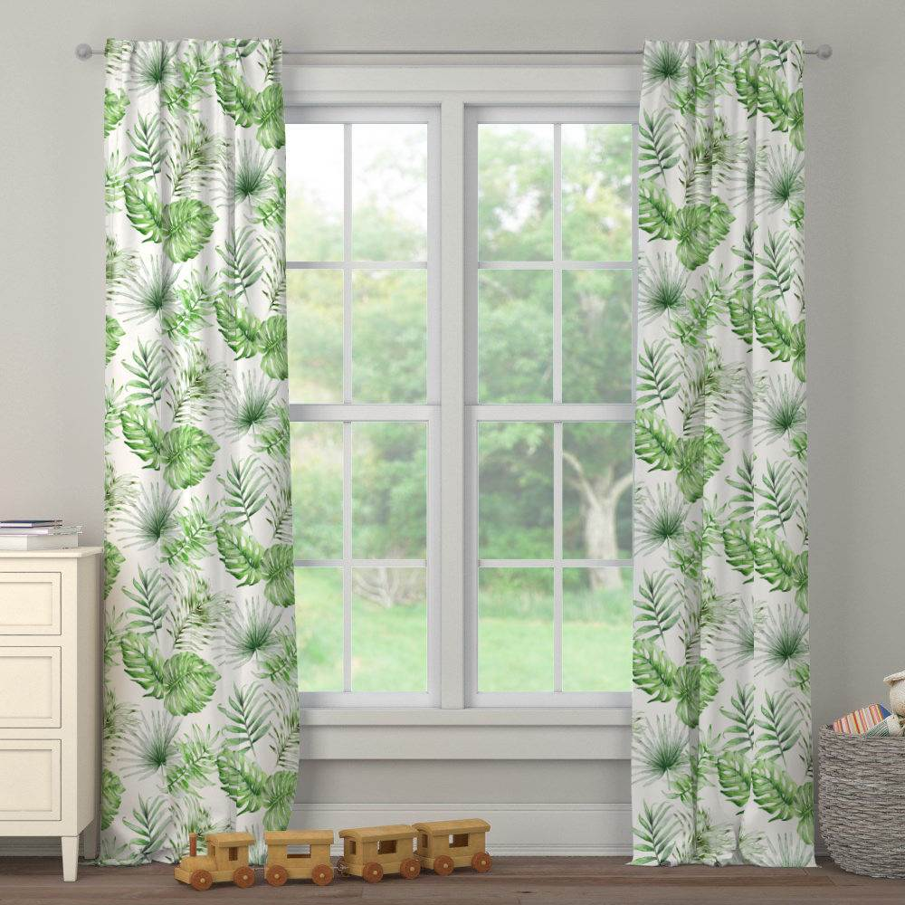 Product image for Green Painted Tropical Drape Panel