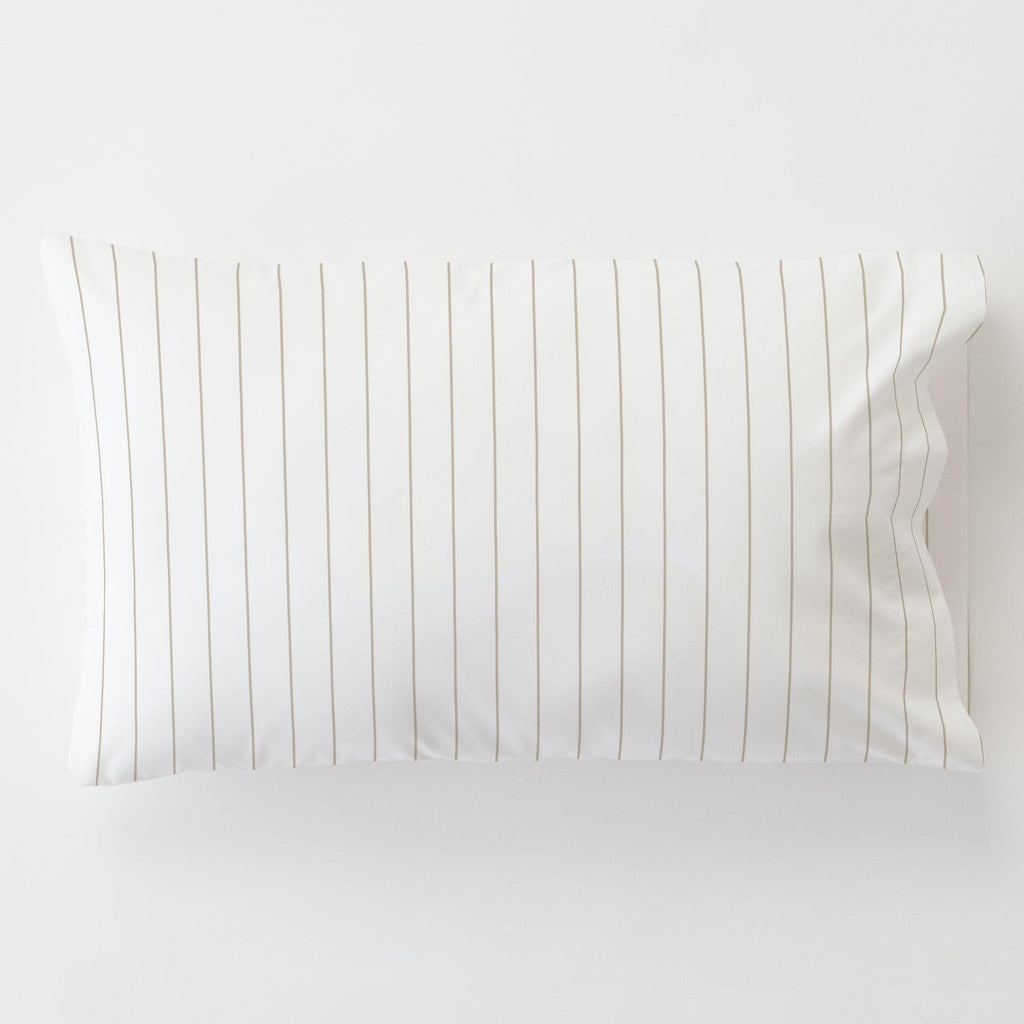 Product image for Taupe Pinstripe Toddler Pillow Case with Pillow Insert