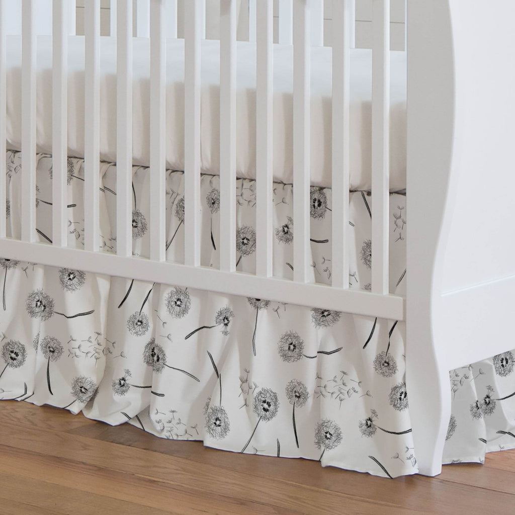 Product image for Hand Drawn Dandelion Crib Skirt Gathered