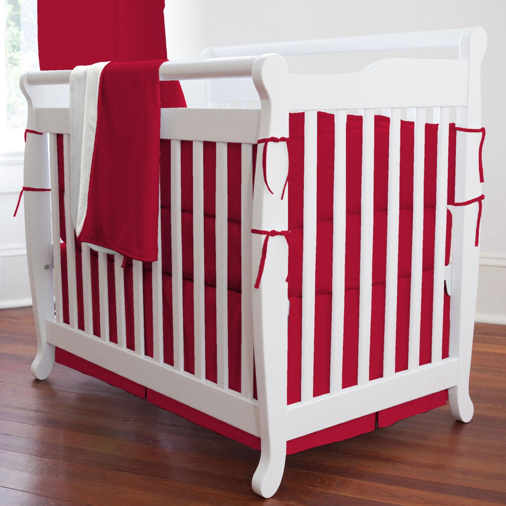 Product image for Solid Red Mini Crib Skirt