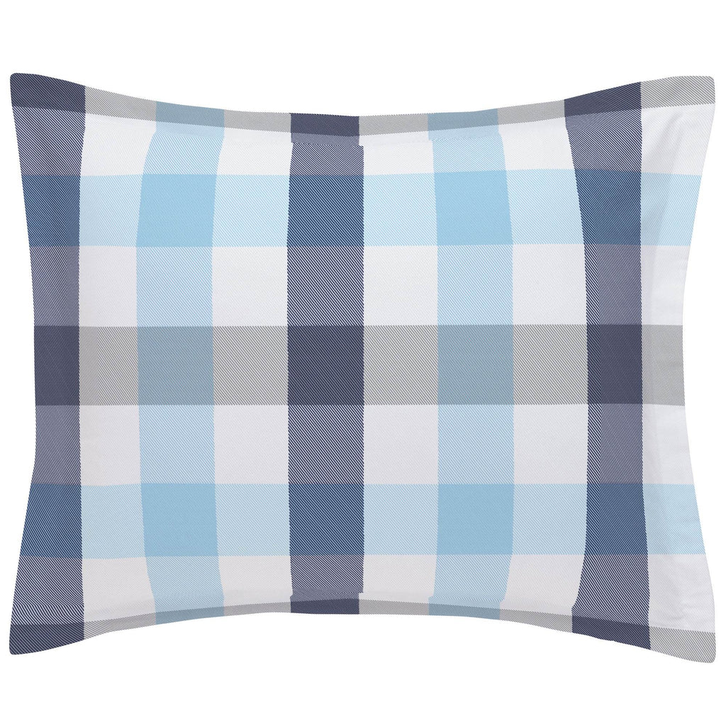 Product image for Navy and Lake Blue Buffalo Check Pillow Sham