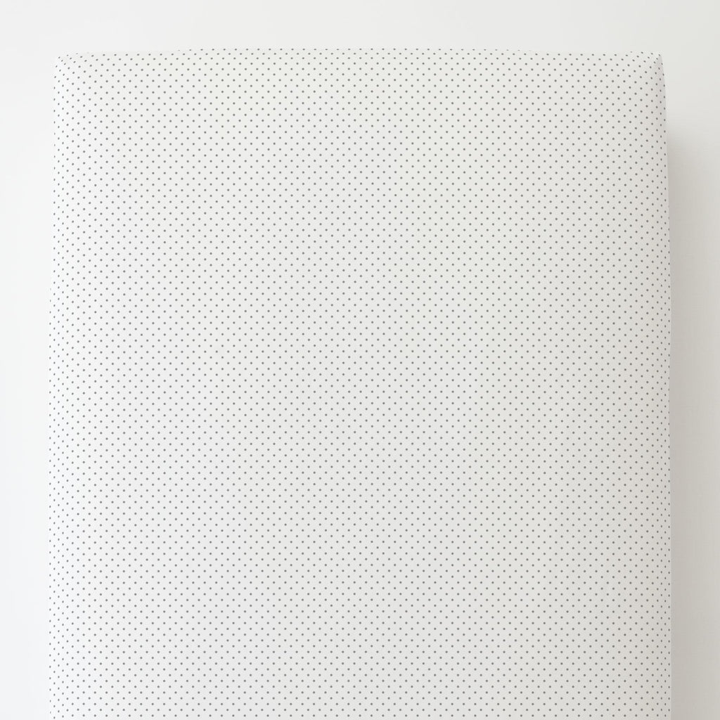 Product image for Cloud Gray Pin Dot Toddler Sheet Bottom Fitted